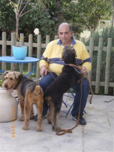 Panagiotis relaxing with Lady and Charly